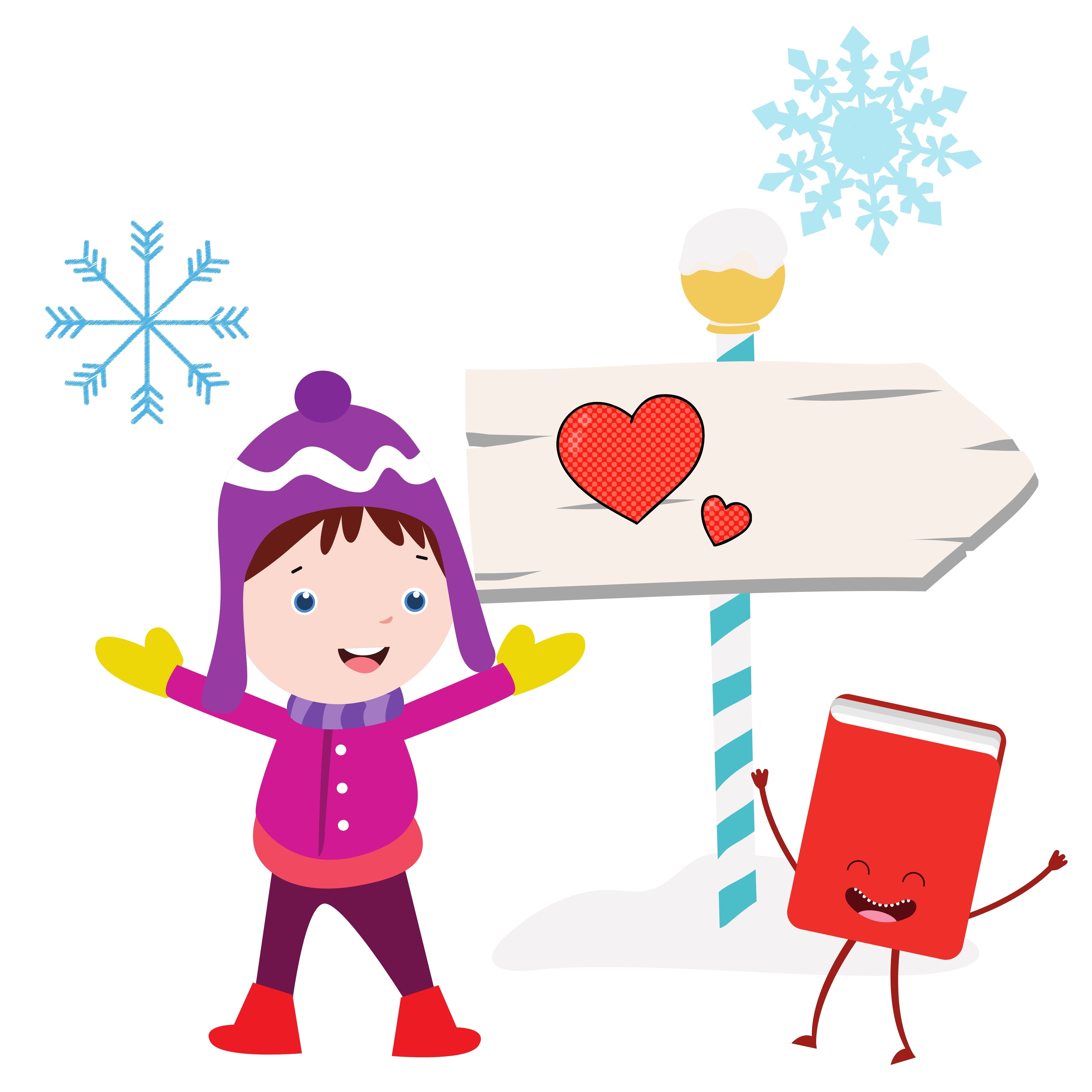 Child and Book Outside in Winter